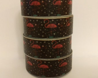 Flamingoes - black and pink washi tape - full roll!