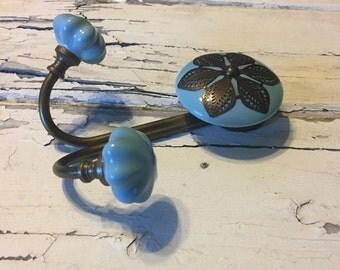 Ceramic Knob Wall Hooks/Double Hook Coat Hanger/Country Blue & Brass/Farmhouse Towel Hook/Item #508352447