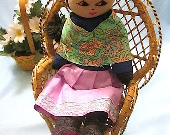 Vintage Handmade Peruvian Woven/Embroidered Doll - Folk Art Doll Made in Peru