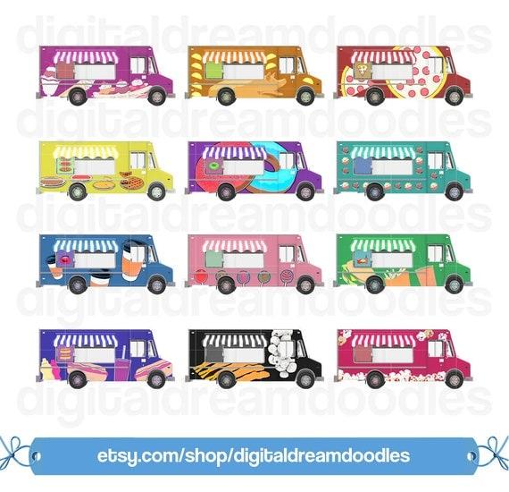 Food Truck Clipart Foodie Clip Art Pizza Image Pork Taco Graphic Pies Scrapbook Sundae Garlic Shrimp Popcorn Digital Download From