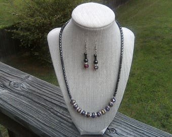 Hematite, Amethyst Faceted Swarovski Crystal Element Beads, Rhinestone Accent Beads, Magnetic Clasp, Necklace - Earrings Jewelry Set