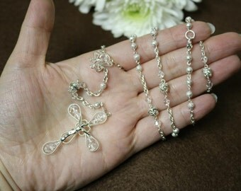 Sparkle silver Rosary Beads, Catholic rosary, Catholic rosary, Rosary for wedding, First communion rosary, Wedding rosary,