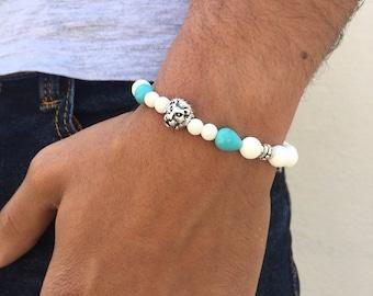 White Beaded Bracelet, Men's Bracelet, Men's White Bracelet, Lion Bracelet, Summer Bracelet, Summer Jewelry, Men's Jewelry, Made in Greece.