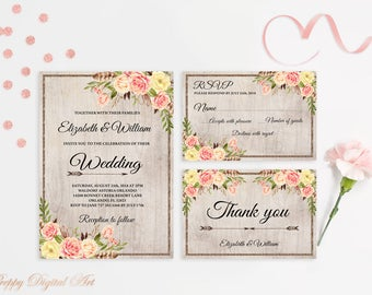 Boho Wedding Invitation Printable Floral Wedding Invite Blush Wedding Invitation Suite Rustic Wedding Invite Bohemian Printable Invitation