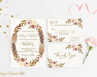 Rustic Wedding Invitation Printable Roses Wedding Invitations Boho Wedding Suite Autumn Romantic Gold Feathers Wedding Gold Foil Typography