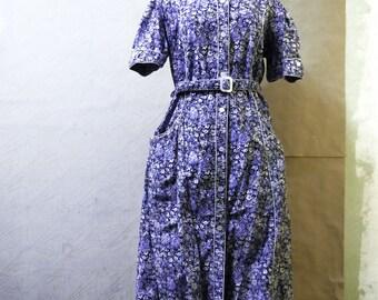 Floral dress, hippy dress, 70s dress, USSR dress, blue dress, funky dress, maxi dress, write flower deess, summer dress