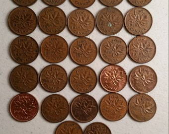 27 canada vintage coins 1950 - 1969 coin lot cents maple leaf canadian - world foreign collector money numismatic a41
