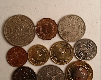 10 british honduras & bahrain vintage coins 1962 - 1995 - coin lot cents fils - world foreign collector money numismatic a97