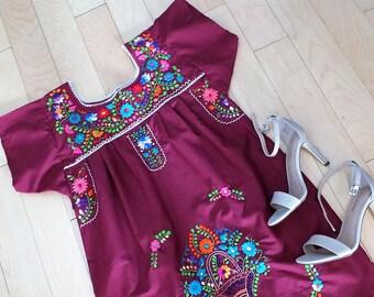 Embroidered dress, Red Wine Mexican dress, Bridesmaid dress, Boho dress, Hippie Dress, Frida dress, 5 de  mayo dress, Tunic dress, mexican