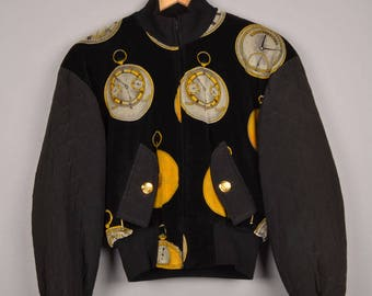 vintage escada blazer, escada by margaretha ley, escada blouse, escada jacket, baroque style jacket, velvet bomber jacket, velour jacket,
