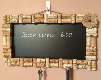 Wine cork chalkboard with key holder
