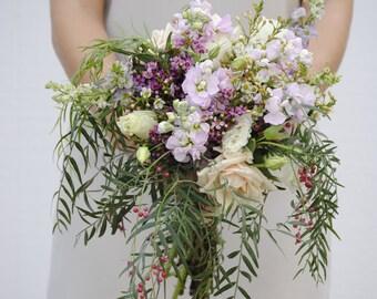 Wild Flower Wedding Bouquet, Lavender and Green Wedding Flower Package