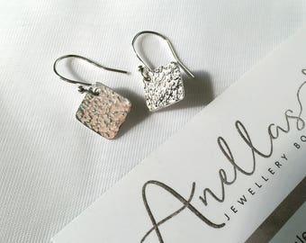 Diamond Shaped Sterling Silver Earrings, Handmade Dangle Earrings, Hammered Earrings, Textured Earrings, Everyday Earrings, Simple Earrings