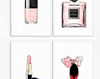 Bundle fashion posters . Drawing perfume bottle, Highheels shoes, pink lipstick, makeup, rouge , coco poster.Fashion printable.