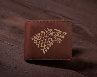 Game of Thrones Men's Wallet, Custom Engraved Leather Wallet - Groomsmen gift, Unique Father, Husband, Boyfriend Gift, Mens Birthday #4000
