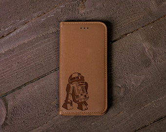 Star Wars R2-D2 iPhone 7 Case, leather Wallet Case, iPhone 7 Plus, 6s 6 6 Plus, 5s, 5, SE, Mens phone cases, Fathers Gift for Him #4098