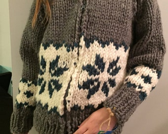 Snowflake Cowichan Style Sweater