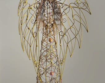 Angel Figurine- large angel- angel wings- jewelry holder- guardian angel- holy spirit- bronze and gold doll- angel art- angel statue- Angel