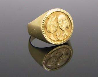 French Vintage ring : les Amoureux de Peynet (Peynet Lovers), by MURAT 18kt gold