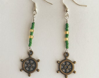 Handmade Ship Wheel Helm Nautical Ocean Green Yellow Bronze Silver Dangle Earrings