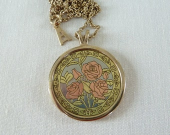 Vintage Amway Artistry Pendant Necklace - Etched Rose Design - Signed Amway Necklace - Vintage Rose Pendant - Rose Lover Necklace - 1970s