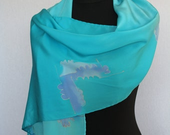 Silk scarf (crepe de chine 10), 160 x 40 cm, hand painted, turquoise (L-0003)
