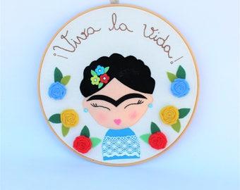 Frida Kahlo, live life, painting Frida Kahlo, Frida frame box, hoop frame, picture Frida, Frida decoration, personalized frame