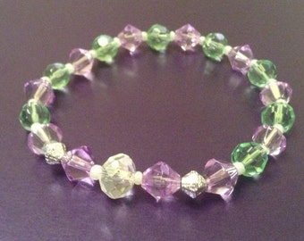 Purple, Green & Clear Beaded Bracelet