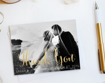 Wedding Thank You Card, Custom Photo Wedding Thank You Cards Gold Foil Wedding Thank You Cards Vintage Gold Foil Wedding Cards Sarah5
