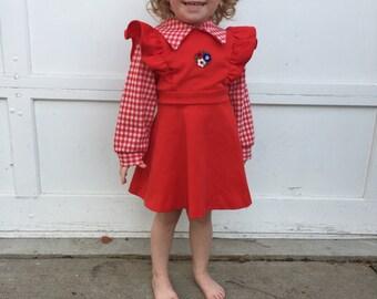 3T 4T Red Dress - Girls Vintage Dress - 1970s Vintage Dress - Gingham Print - Red Girls Clothing -  Red Gingham Dress -Spring Dress