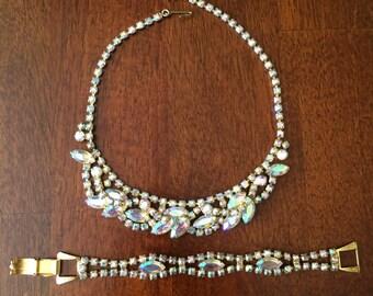 Vintage Aurora Borealis Rhinestone Necklace & Bracelet Set
