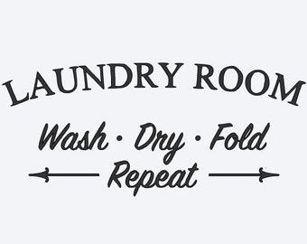 Vintage Laundry Room vinyl decal for home wall decor
