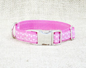 "Pink Polka Dot Dog Collar~ 3/4"" Wide with Metal Side Release Buckle"
