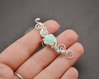 Mint ear cuff Bohemian earrings Wedding gift Flower earrings Bridal ear cuff Bridal earrings Fake piercing Statement earrings Mint earrings