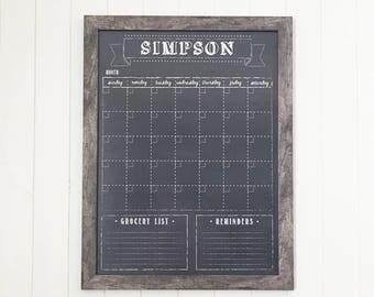Chalkboard Calendar, Dry Erase 18x24 Calendar, Optional Magnetic Calendar #18.S1.V