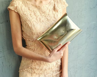 Gold leather clutch bag / Gold envelope clutch / Bag available with wristlet / Genuine leather / Wedding clutch / Bridesmaid gift