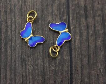 Sterling Silver Butterfly Charm Pendant,24K Gold Plated,Blue Enamel Cloisonne, Butterfly necklace, Butterfly jewelry