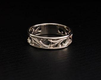 White gold nature wedding ring, Vintage style band, Leaves wedding band, White gold ring, Men women wedding ring, Delicate wedding band