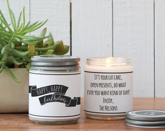 Happy, Happy Birthday Soy Candle - Birthday Gift | Birthday Gift Candle | Send a Birthday Gift | Birthday Candle | Birthday Cake Candle