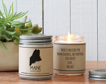 Maine Scented Candle - Homesick Gift | Feeling Homesick | State Scented Candle | Moving Gift | College Student Gift | State Candles