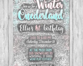 Winter Onderland Invitation Birthday   Chalkboard   First Birthday Party Invite   First Birthday   Printable Invite   Winter Wonderland