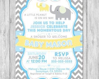 Elephant Chevron Baby Shower Invitation - Baby Shower Invite - Chevron Baby Shower - Elephant Baby Shower - Boy Baby Shower