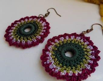 Mandala earrings crochet, Boho hippie earrings, Bohemian jewelry, Gypsy earrings, Girl gift, Round Dangle Fiber Earrings, Tribal Earrings