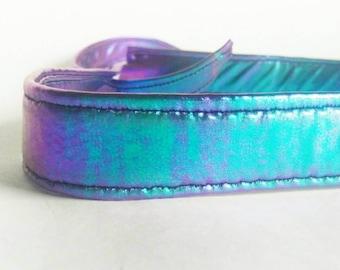 Iridescent dog collar / mermaid dog collar / metal hardware dog collar / purple green blue dog collar / metallic dog collar