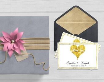 Wedding Thank You Notes, Personalized Wedding Thank you Cards, Thank You Cards Printable, Thank you cards Wedding, Gold Wedding