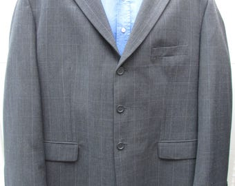 Grey 3-Button Jacket with Blue Window Pane Check