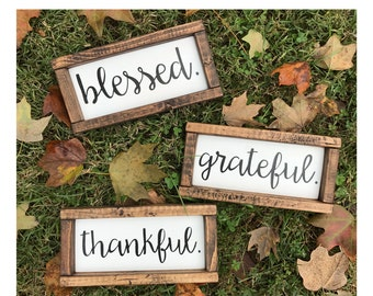 "Blessed Thankful Grateful Wood Signs - Set of 3 (4""x8"" each)"