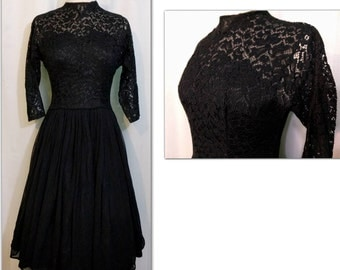 Black Lace and Chiffon Illusion 50s Dress