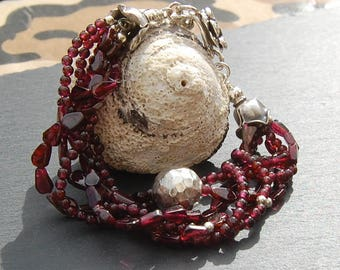 Garnet and silver layer bracelet