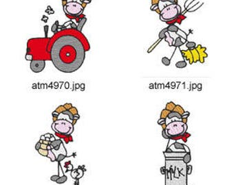 Stick-Farm-Cows ( 7 Machine Embroidery Designs from ATW ) XYZ17D